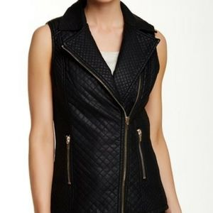 Love Token Quilted Faux Leather Vest Sz Med 8-10